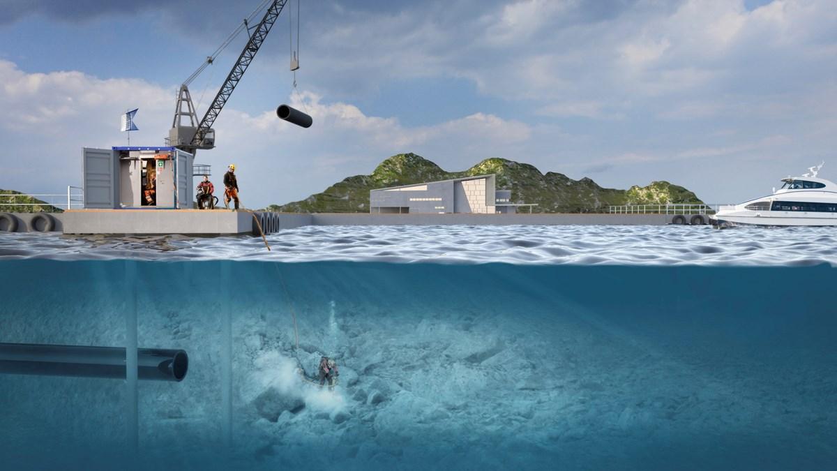Illustrasjon som viser både hva som skjer under og over vann under yrkesdykking. Over vann løfter en kran rørdeler ned til en yrkesdykker som jobber under vann. Illustrasjon